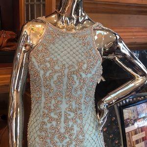 Sherri Hill Aqua Beaded Gown